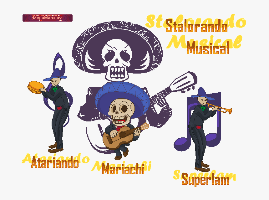 Calavera Mexican Skull Sticker Vinyl Wall Art, Black - Day Of The Dead Guitar, HD Png Download, Free Download