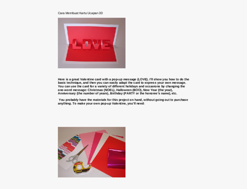 Love You Pop Up Card, HD Png Download, Free Download