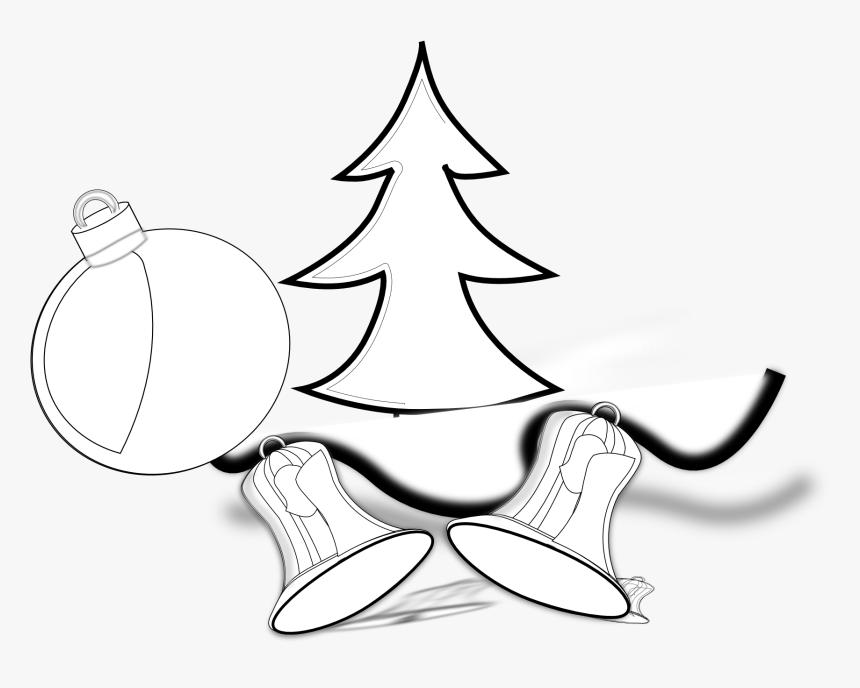 Tree Jingle Bells Ornament Black White Line Art Christmas - Christmas Tree, HD Png Download, Free Download