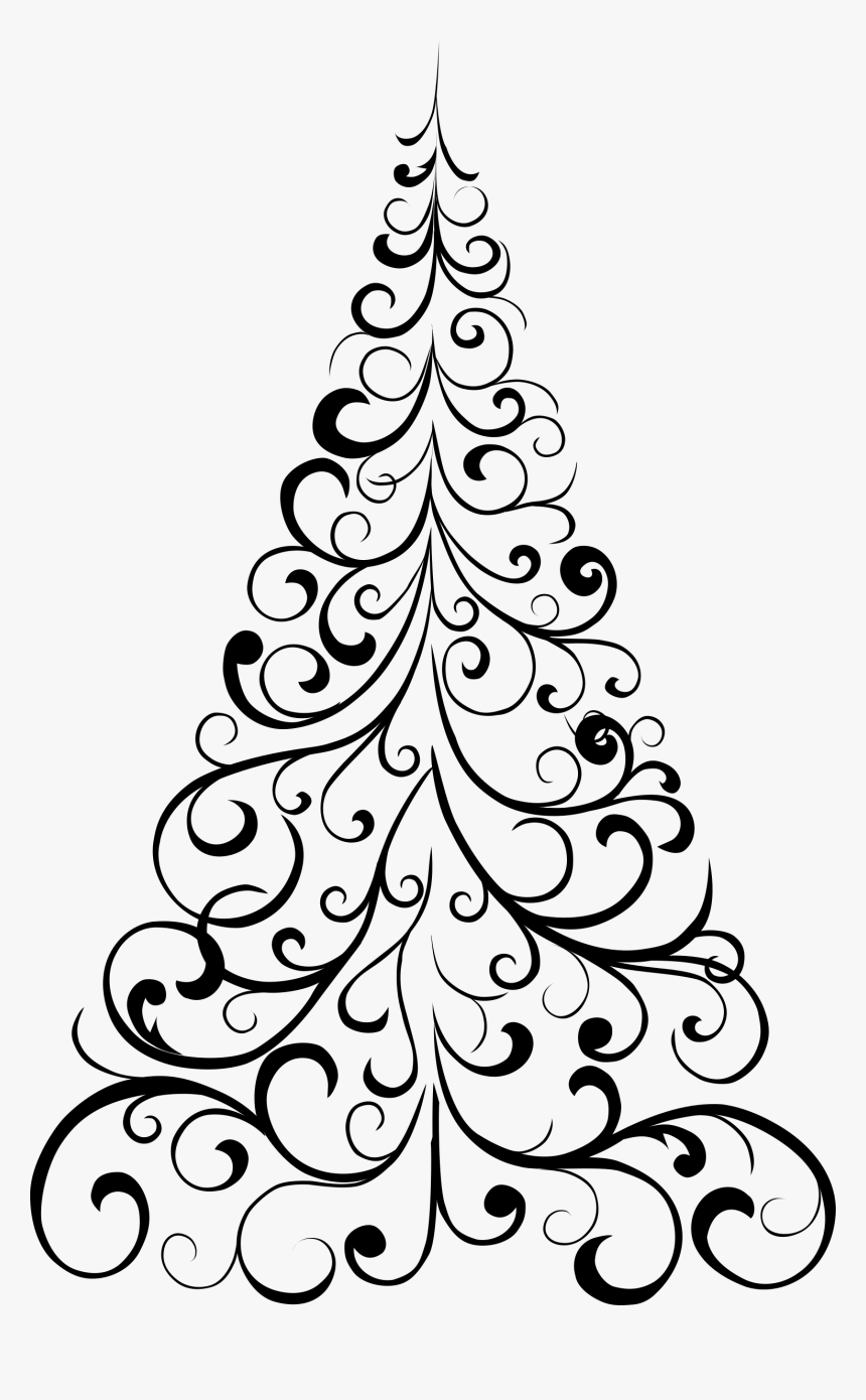 Clipart Ornamental Tree - Christmas Tree Drawings Ideas, HD Png Download, Free Download