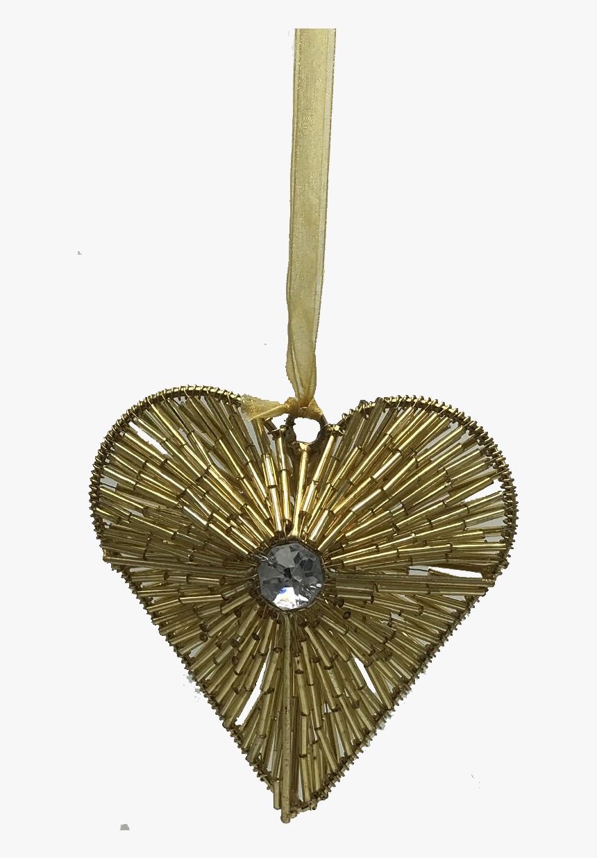 Gold Beaded Heart Ornament - Locket, HD Png Download, Free Download
