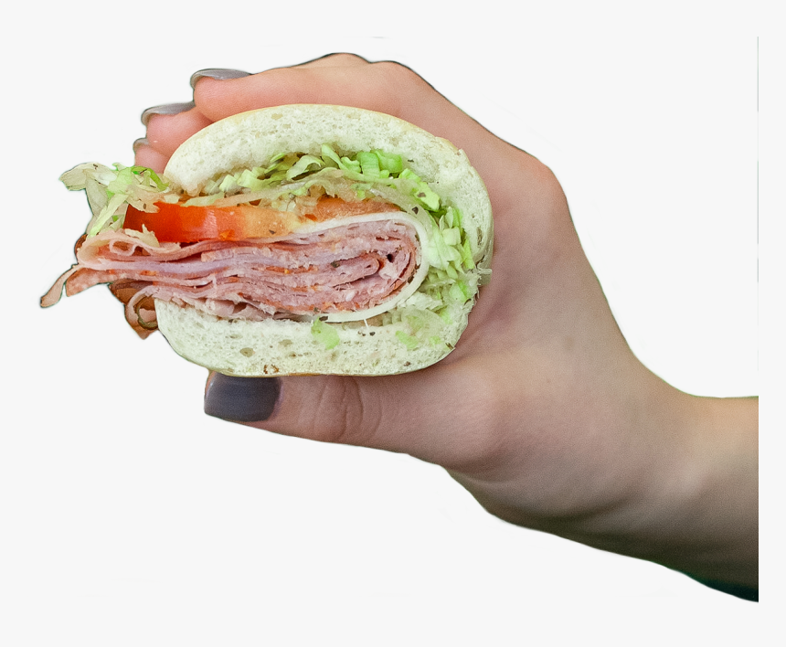 "Hand Holding Milio""s Sandwich - Fast Food, HD Png Download, Free Download"
