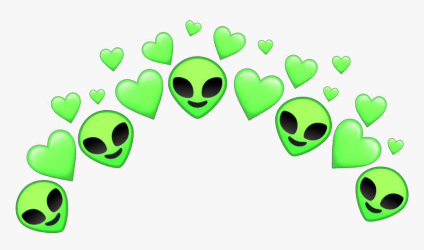 #aliens #alien #crown #crowns #space #galaxy #tumblr - Green Heart Crown Transparent, HD Png Download, Free Download