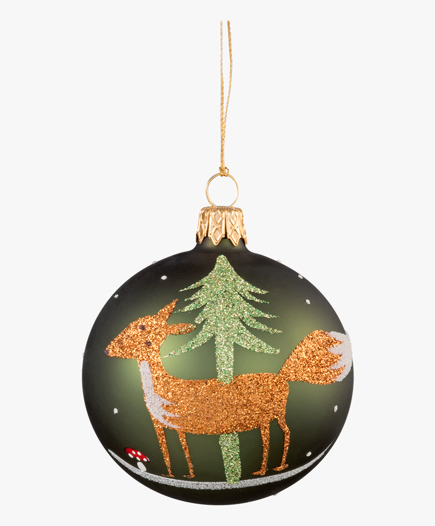 Glass Bauble Green With Fox, 7 Cm - Kristbaumkugeln Fuchs, HD Png Download, Free Download