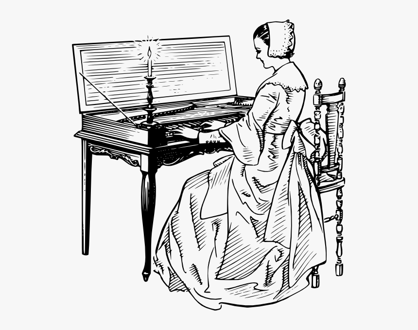 Free Vector Woman Playing A Clavichord Clip Art - Woman Playing A Piano Drawing, HD Png Download, Free Download