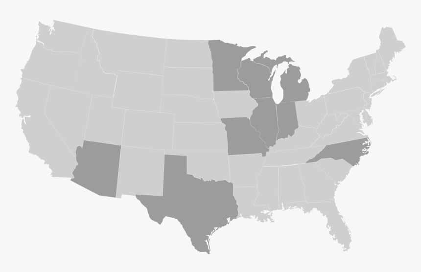 State Map 28 Right To Work States Hd Png Download Kindpng
