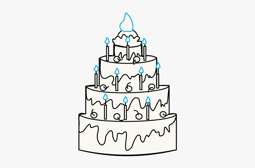 Magnificent How To Draw A Cake Easy Drawing Guides Cake Line Art Png Personalised Birthday Cards Vishlily Jamesorg