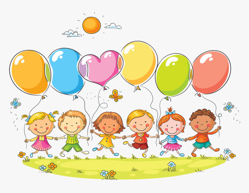 Cute Kids Balloon Collection Drawing Child Photography - Kids With Balloon Clipart, HD Png Download, Free Download