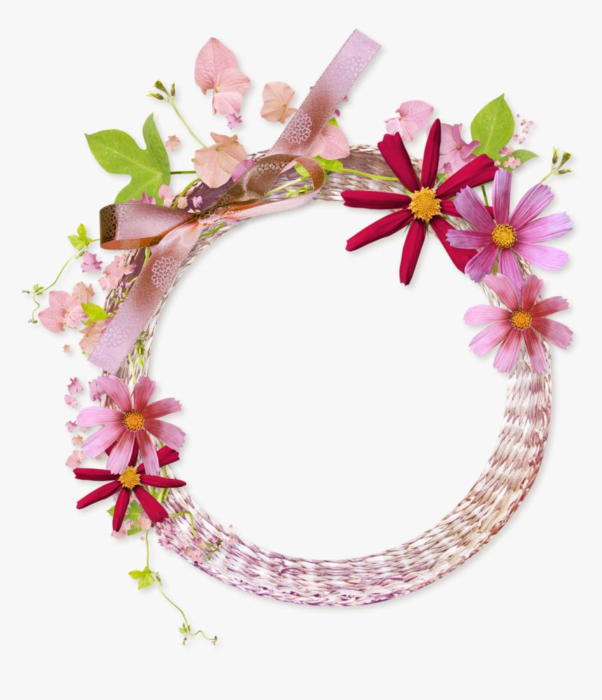 Floral Round Frame Png Clipart - Pink Flower Frame Png, Transparent Png, Free Download