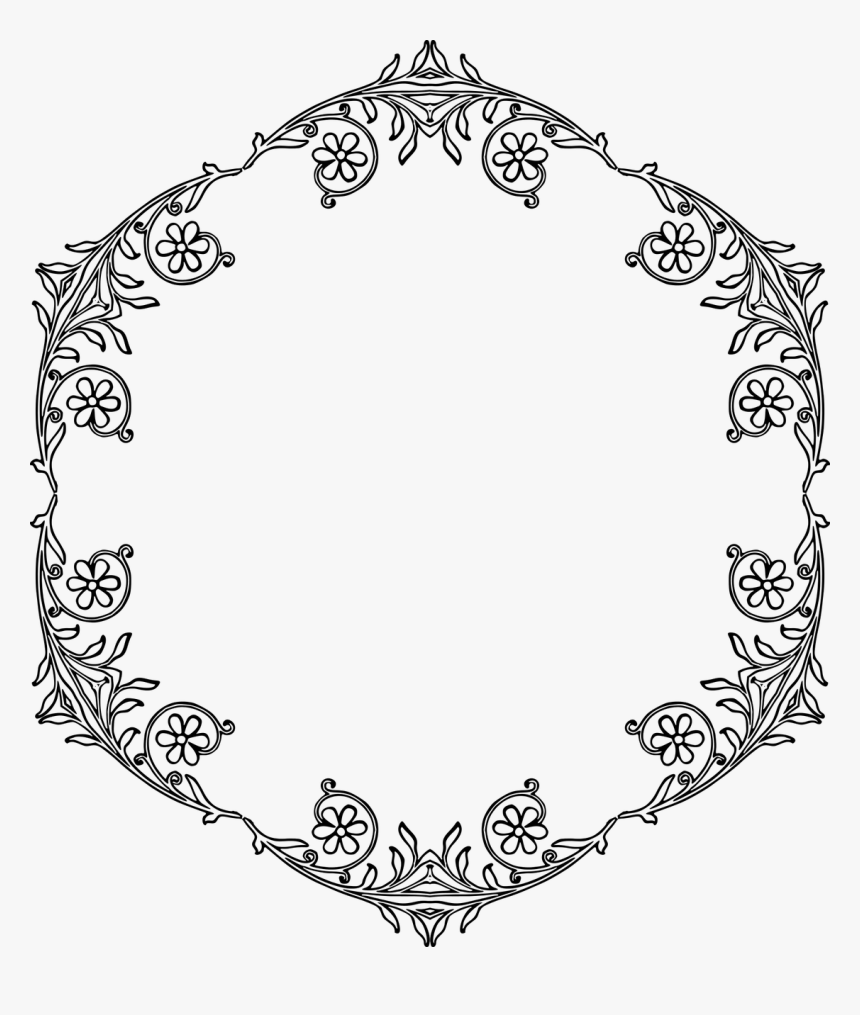 Line Art,area,monochrome Photography - Floral Frame Borders Vector Black And White, HD Png Download, Free Download