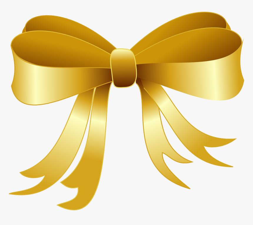 Gold Christmas Bow Clipart, HD Png Download, Free Download