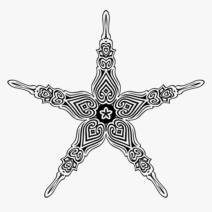 Ornate Flourish Design 10 Clip Arts - Ornate Clip Art Star, HD Png Download, Free Download