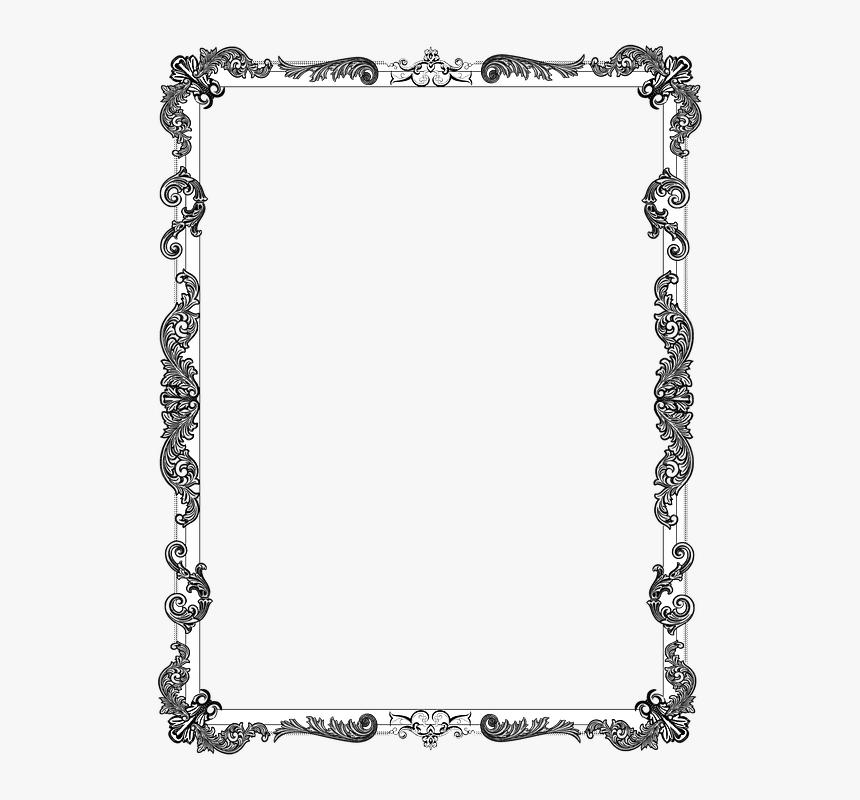 Ornate, Frame, Black, Border, Decoration, Vintage - Black And White Simple Border, HD Png Download, Free Download