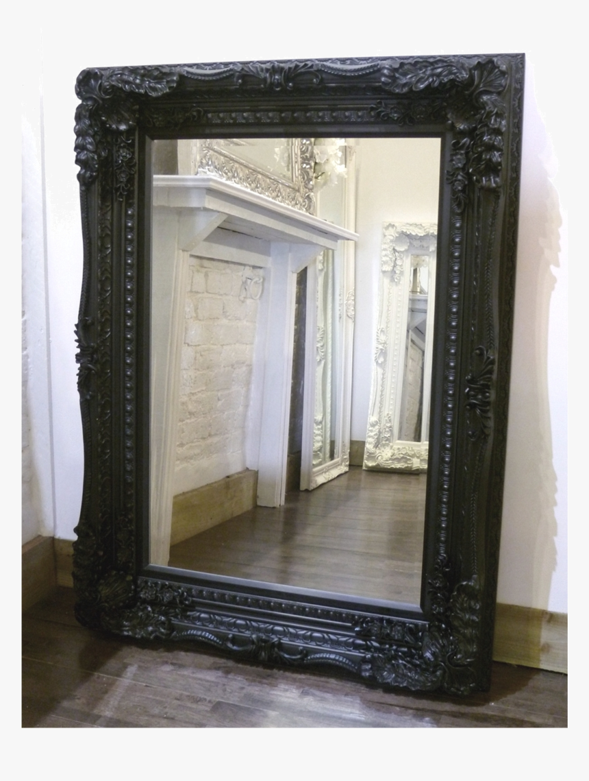 Black Framed Ornate Mirror Hd Png Download Kindpng