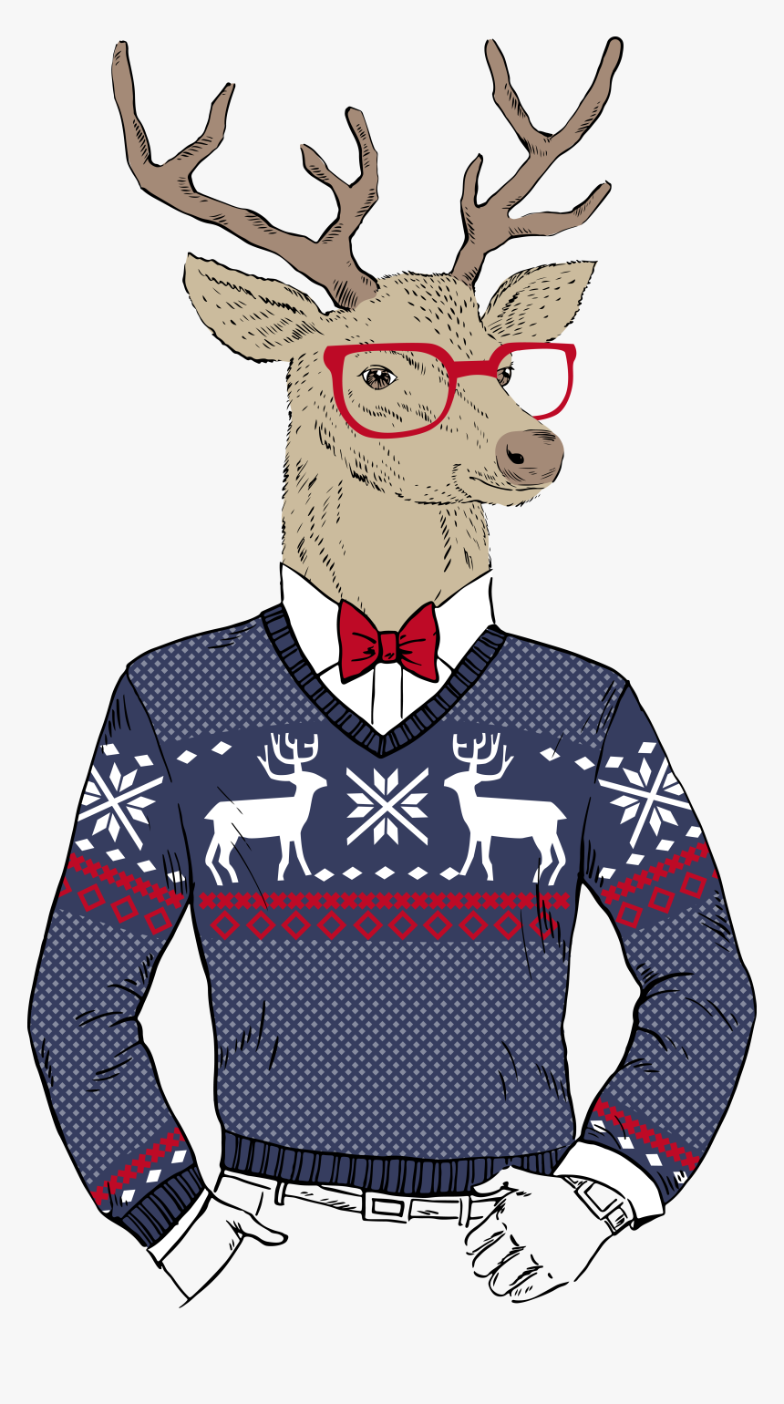 Clip Art Hipster Christmas Santa Claus - Ugly Christmas Sweater Invitations, HD Png Download, Free Download