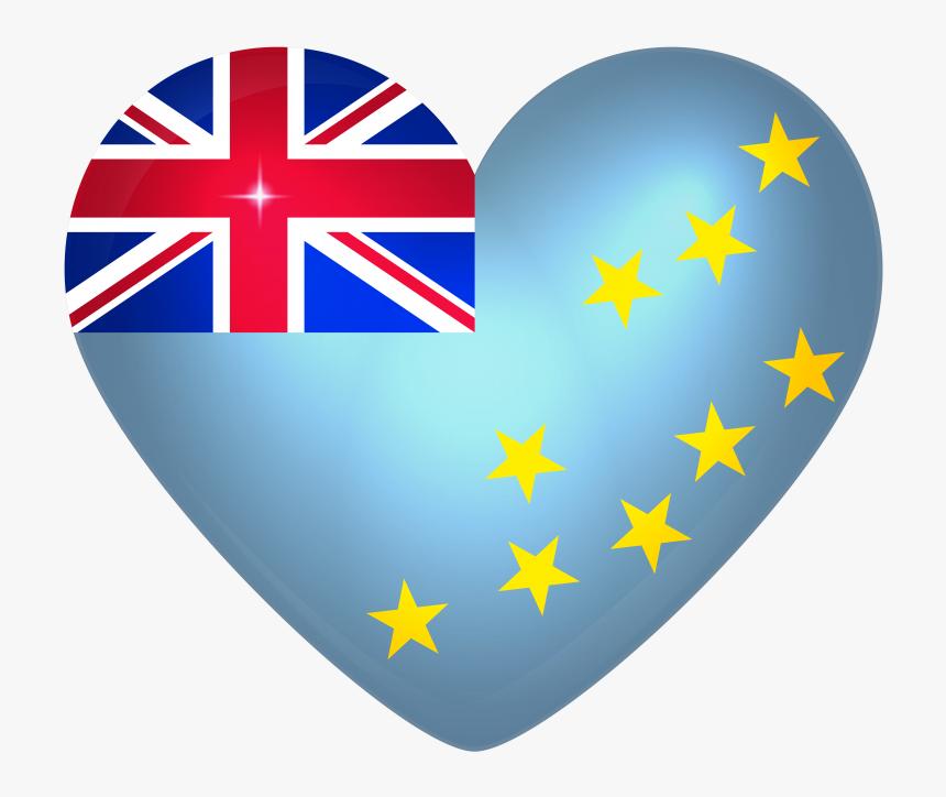 Tuvalu Large Heart Flag - Flag Of Cook Islands, HD Png Download, Free Download