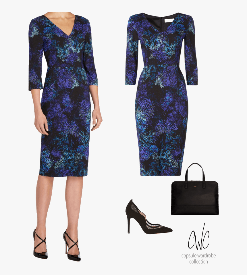 Blue Floral Dress For A Business Capsule Wardrobe - Basic Pump, HD Png Download, Free Download