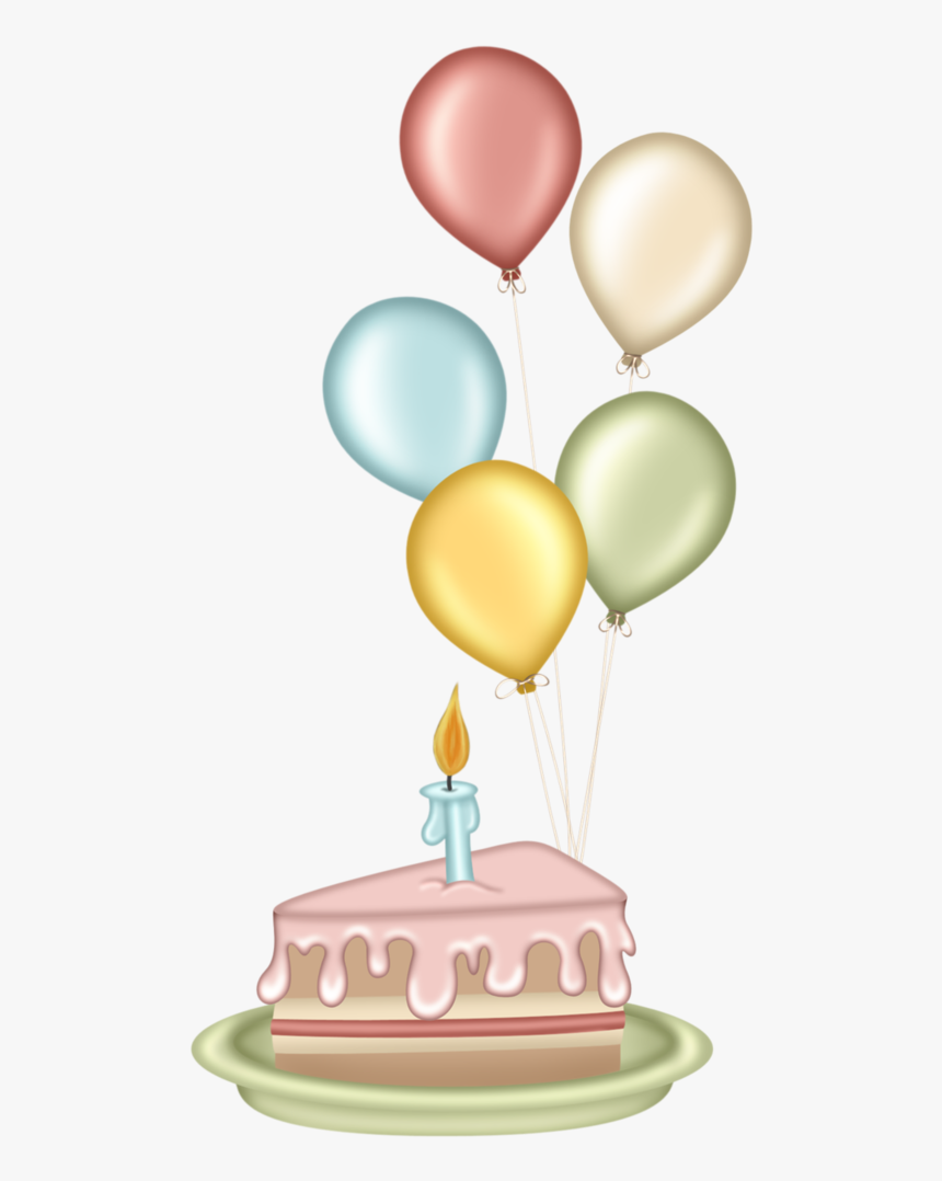 Cute Clipart Birthday Cake Png Royalty Free Library - Happy Birthday Clipart Balloon And Cake, Transparent Png, Free Download