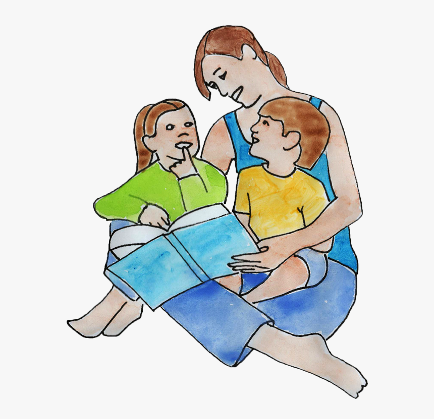 Mom Reading To Kids - Mom & Kids Clipart, HD Png Download, Free Download