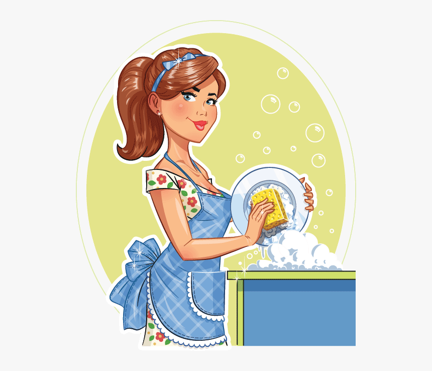 Transparent Cleaning Lady Png - Washing Plate Washing Dishes Clipart, Png Download, Free Download