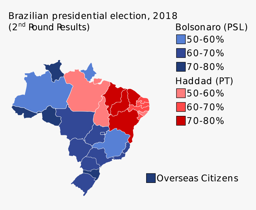 Brazil Election Results 2018 , Png Download - Brazil Election Map 2018, Transparent Png, Free Download