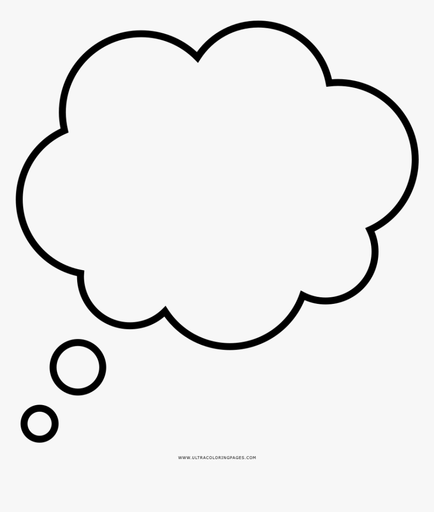 Thought Bubble Coloring Page - Think Cloud With Transparent Background, HD Png Download, Free Download