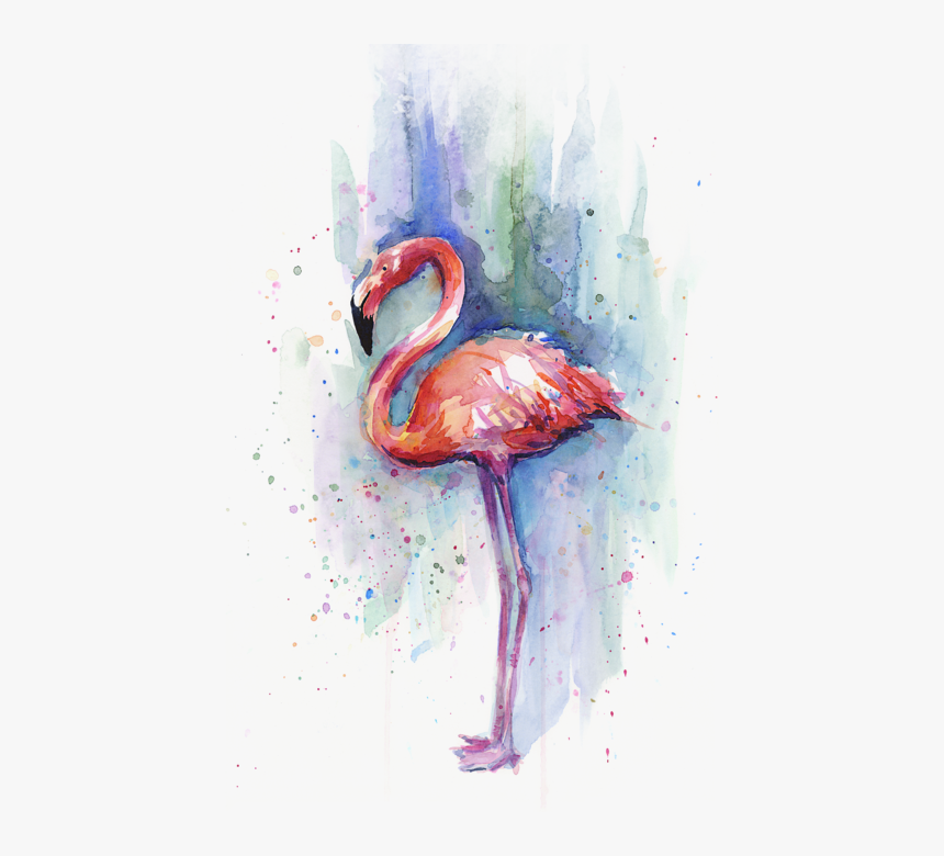 Click And Drag To Re-position The Image, If Desired - Pink Flamingo Watercolor, HD Png Download, Free Download