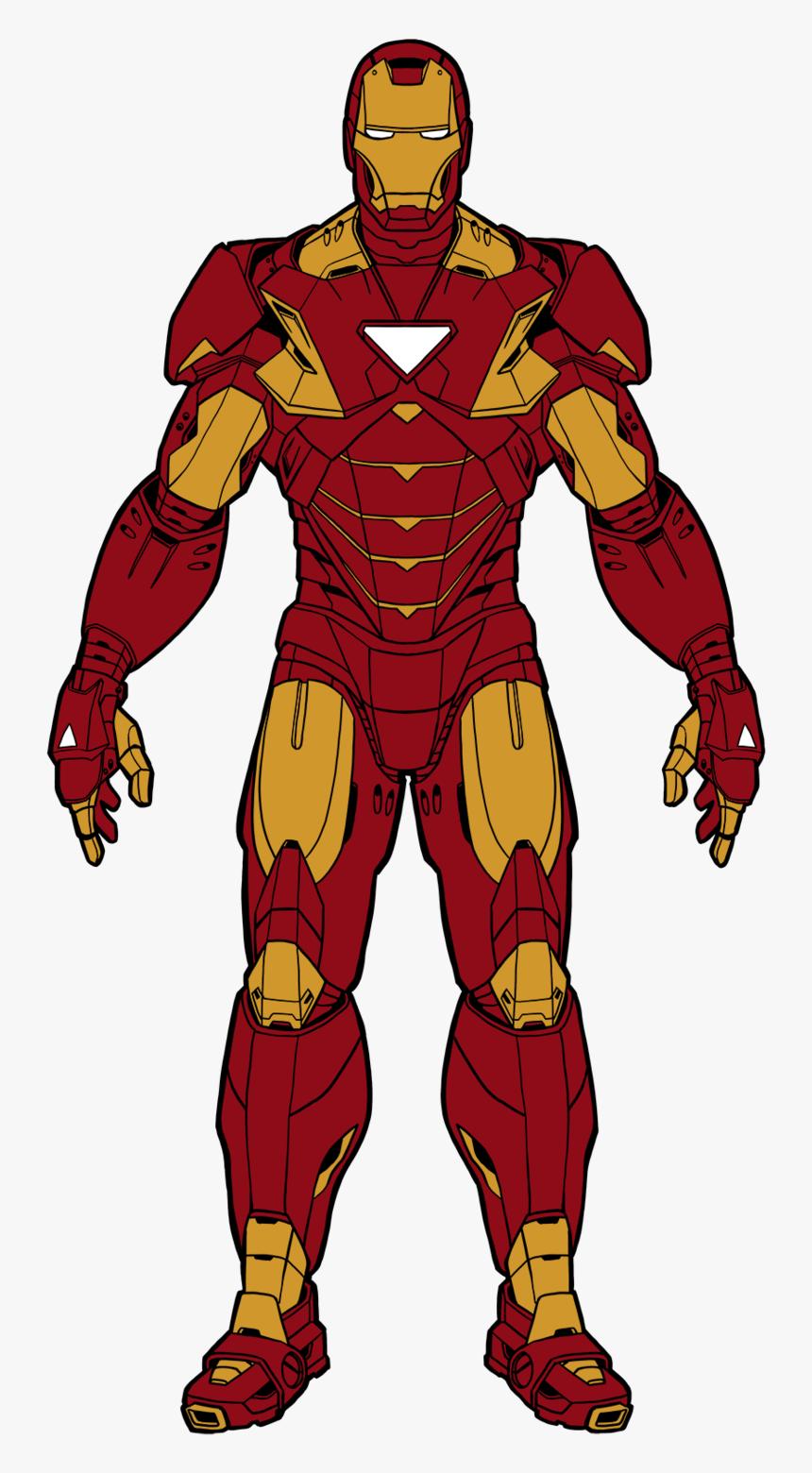 Iron Man Cartoon Drawing Color - Iron Man Body Drawing, HD Png Download, Free Download