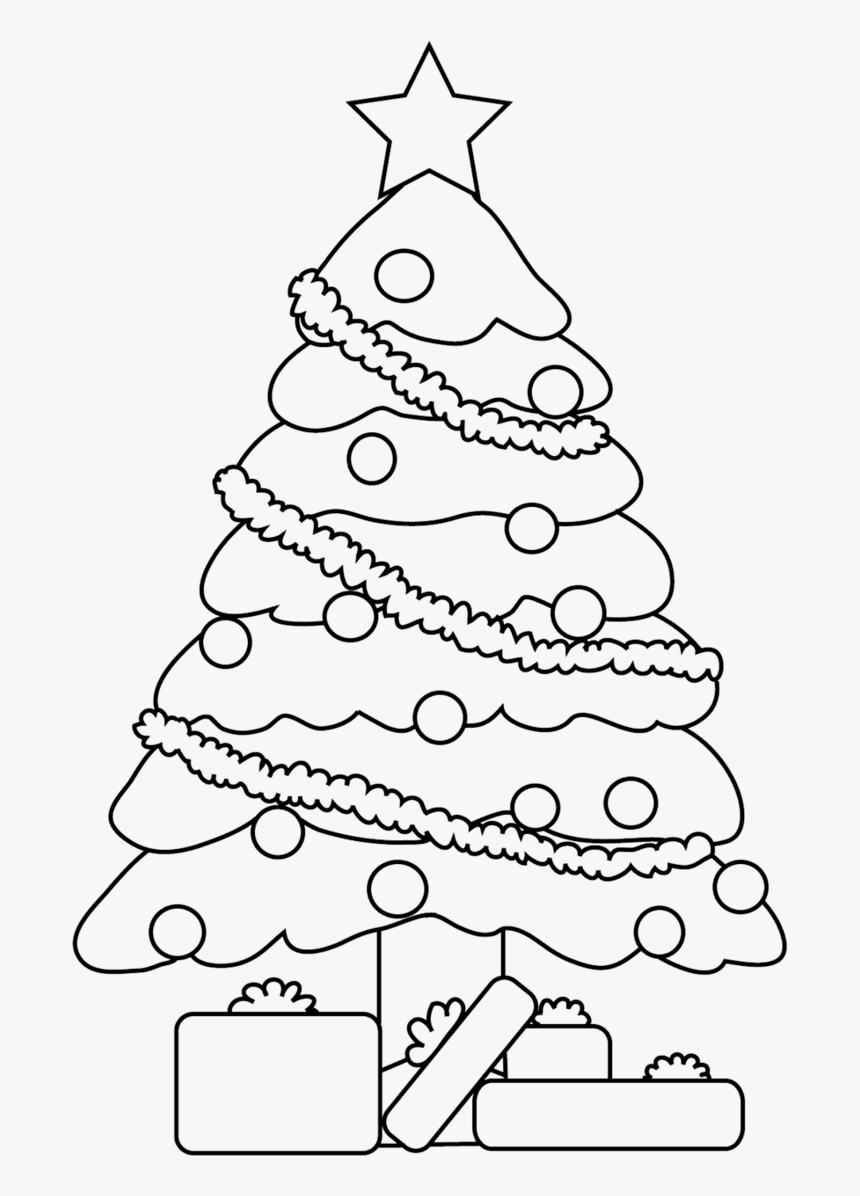 Line Drawing Thristmas Tree - Drawing Christmas Tree Sketch, HD Png Download, Free Download