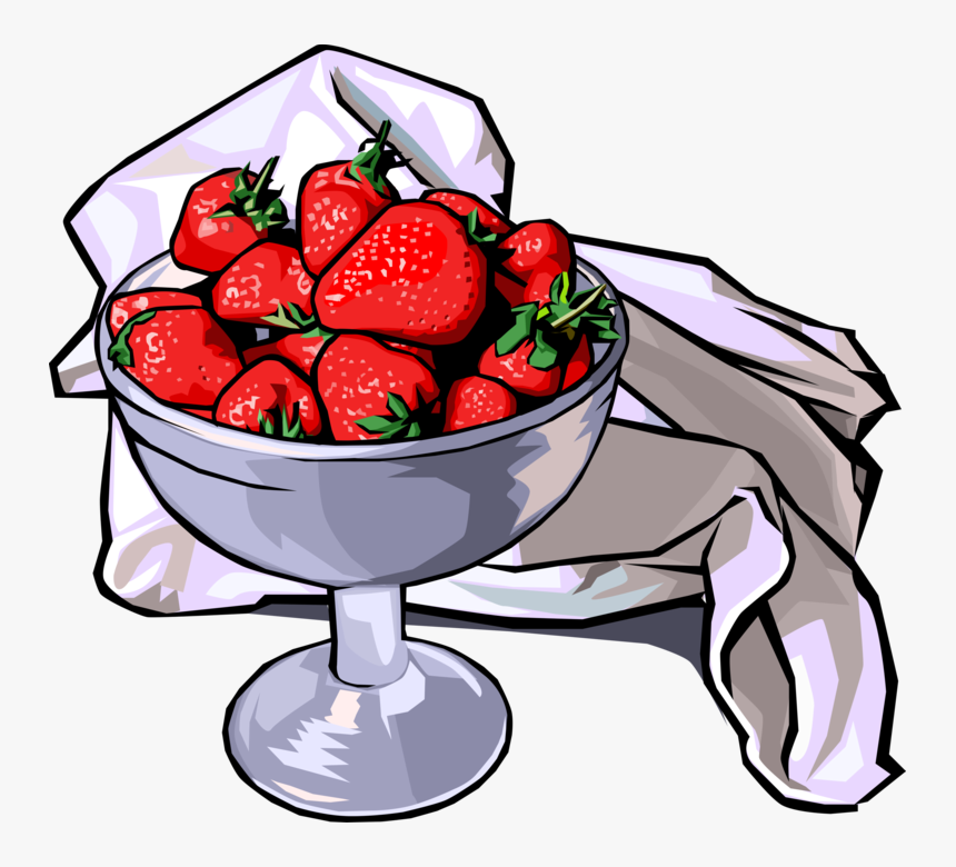 Vector Illustration Of Edible Fruit Strawberries In - Animated Bowl Of Strawberries, HD Png Download, Free Download