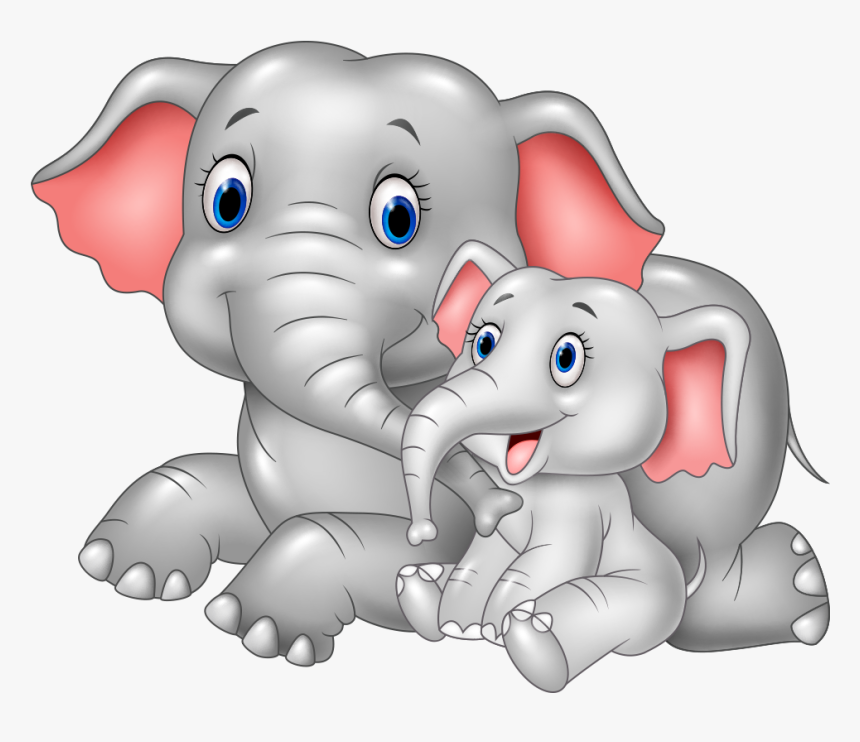 Bonding Between Mother And Child - Mom And Baby Elephant Cartoon, HD Png Download, Free Download