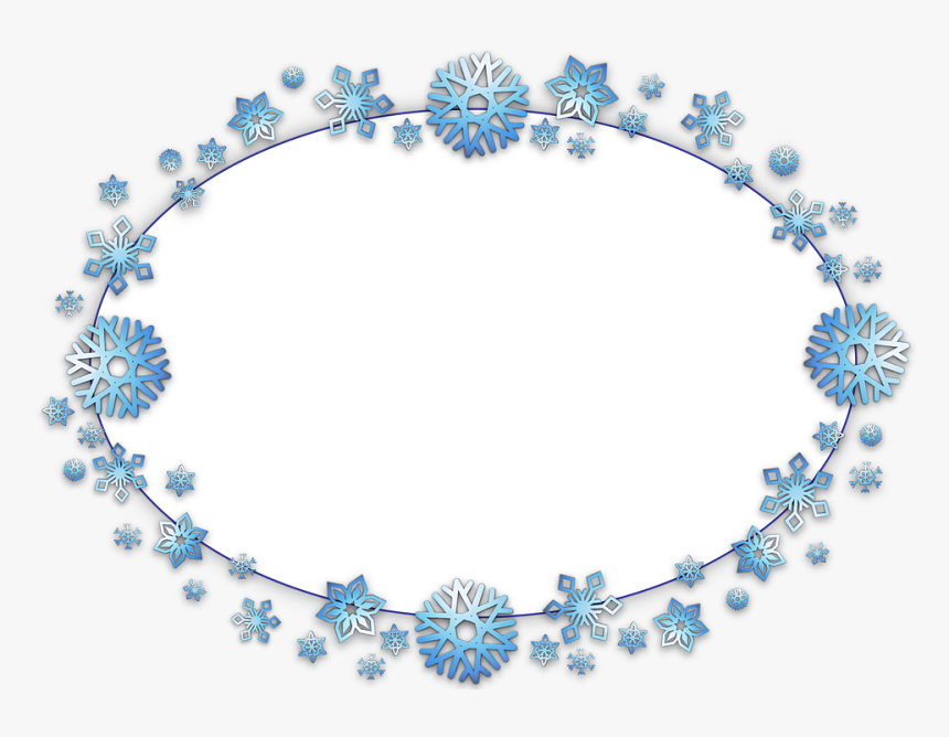 Frame, Border, Oval, Card, Xmas, Christmas, Snow, Flake - Oval Christmas Frame Transparent, HD Png Download, Free Download