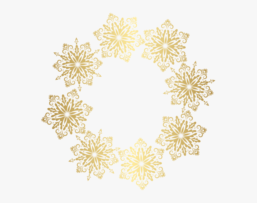 Gold Snowflakes Border Transparent Image - Transparent Background Xmas Borders, HD Png Download, Free Download