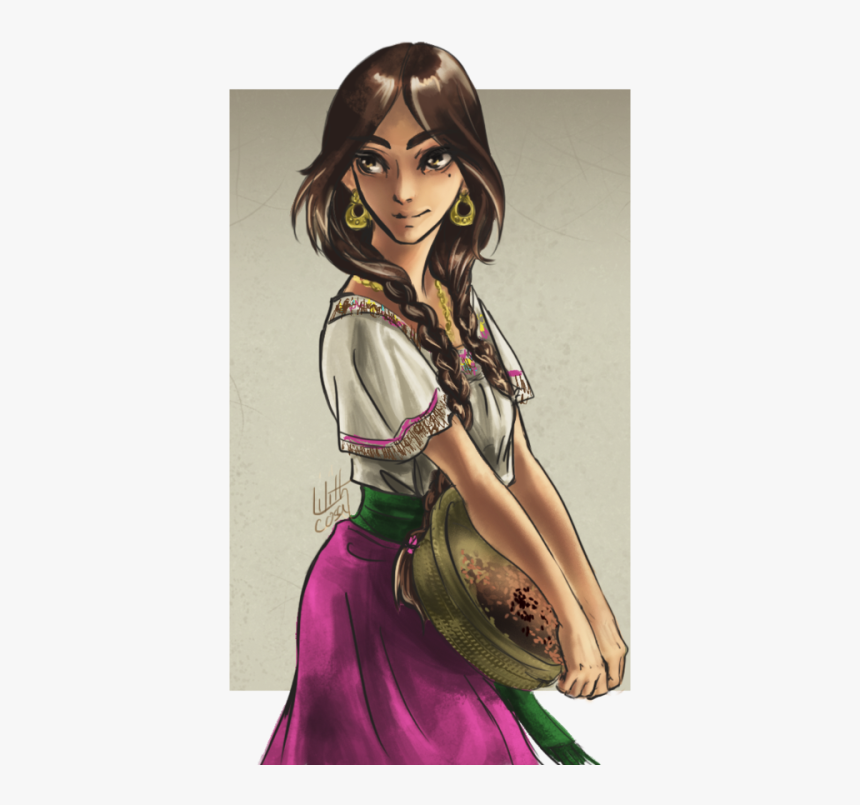 Charra Drawing Lady Mexican - Drawing A Mexican Girl, HD Png Download, Free Download