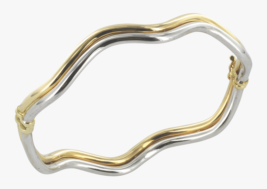 Two Tone Wave 9ct Gold Bangle - Silver, HD Png Download, Free Download