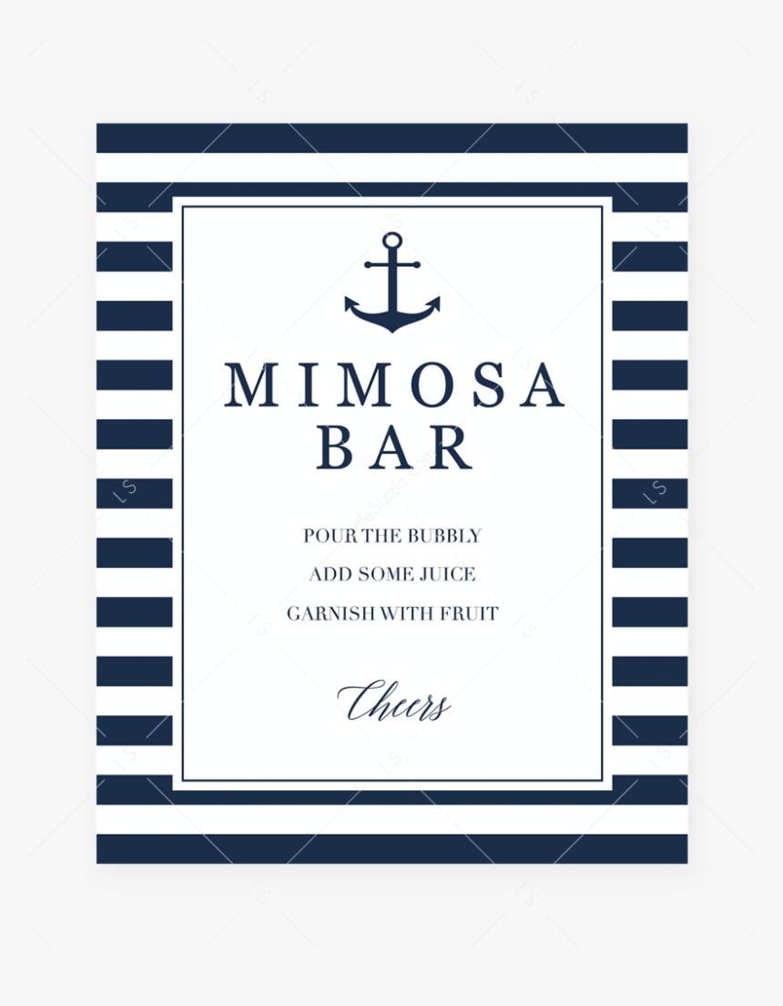 """Navy And White Mimosa Bar Sign Printable By Littlesizzle""""  - Diaper Raffle Sign For Baby Shower For Boy, HD Png Download, Free Download"""