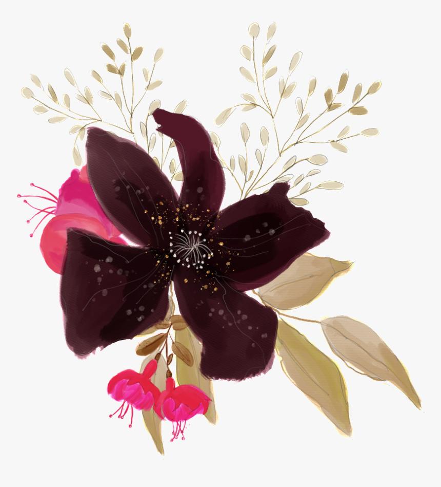 Brown Black Flower Transparent Decorative - Illustration, HD Png Download, Free Download