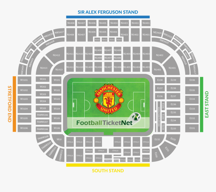 Manchester United Vs Manchester City Football Tickets - Old Trafford Stadium Plan, HD Png Download, Free Download