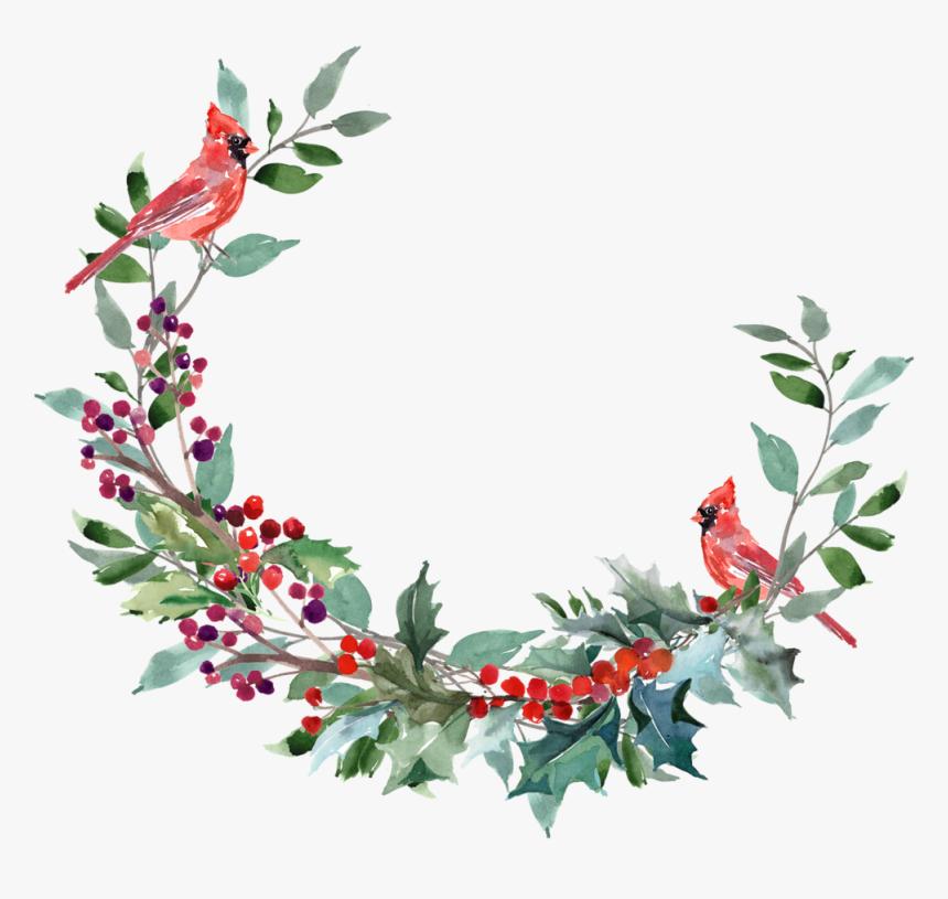 Transparent Watercolor Christmas Wreath Png - Watercolour Christmas Wreath Png, Png Download, Free Download