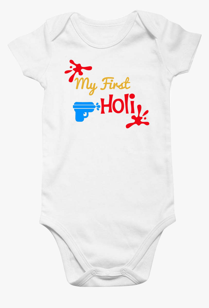 "Funcart Pichkari Printed My First Holi Baby Romper"", HD Png Download, Free Download"