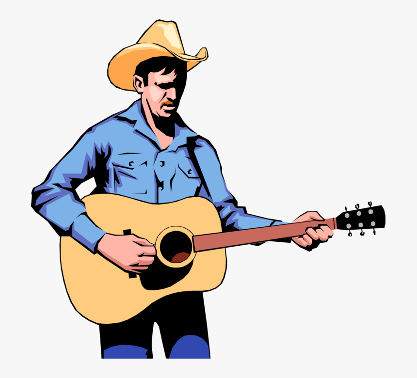 Vector Illustration Of Western Cowboy Country Musician - Guitar Player Cartoon Png, Transparent Png, Free Download