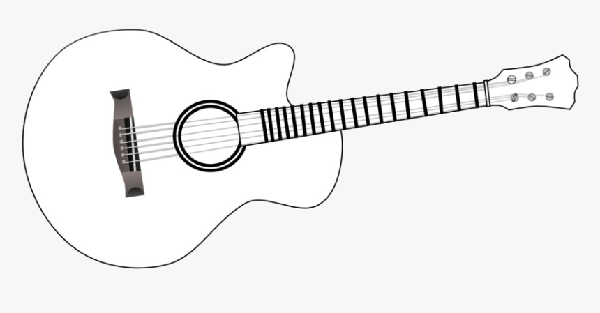 Guitar Of Black And White Transparent Png - Simple Guitar Coloring Pages, Png Download, Free Download