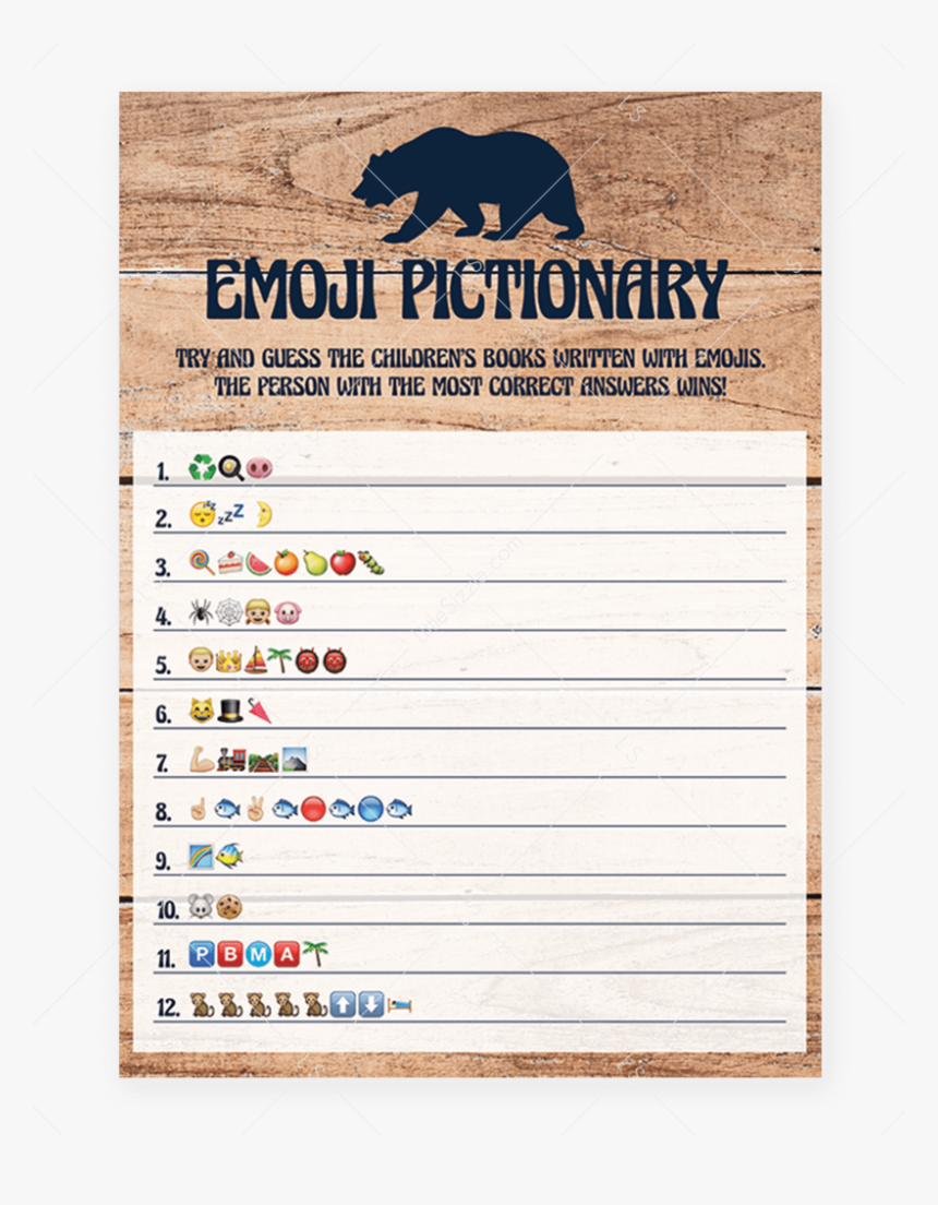 Little Cub Baby Shower Emoji Pictionary Game By Littlesizzle - Name The Shelter Of Animals, HD Png Download, Free Download