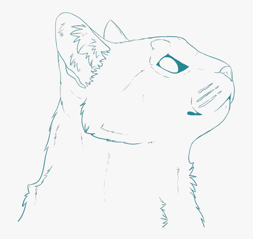 Cat Head Teal Facing Right - Cat Head Facing Right, HD Png Download, Free Download