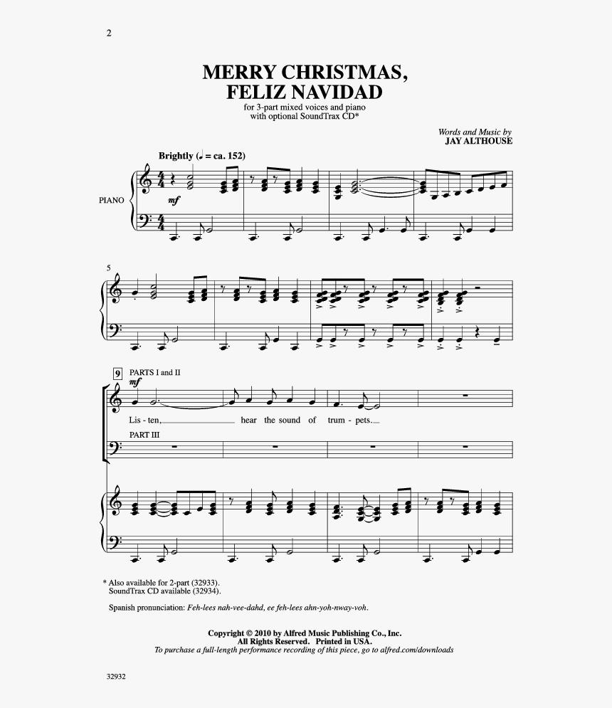 merry christmas feliz navidad thumbnail sheet music hd png download kindpng kindpng