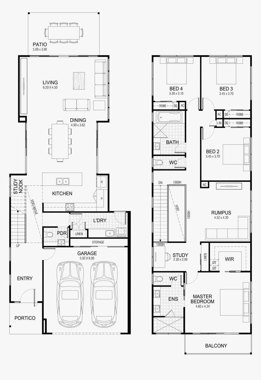 Picture Transparent Floor Lake Pinterest Outdoor Living - Narrow House Plans 2 Story, HD Png Download, Free Download