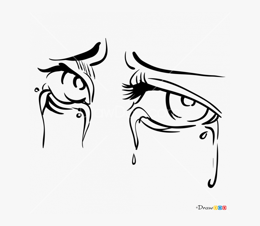 Clip Art Drawing Of Crying Eyes - Cartoon Crying Eyes Drawing, HD Png Download, Free Download