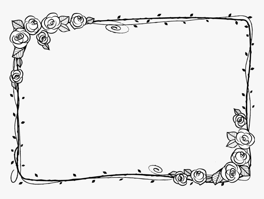 Black And White Beach Rose Adobe Illustrator - Border Black Frame Transparent Png, Png Download, Free Download