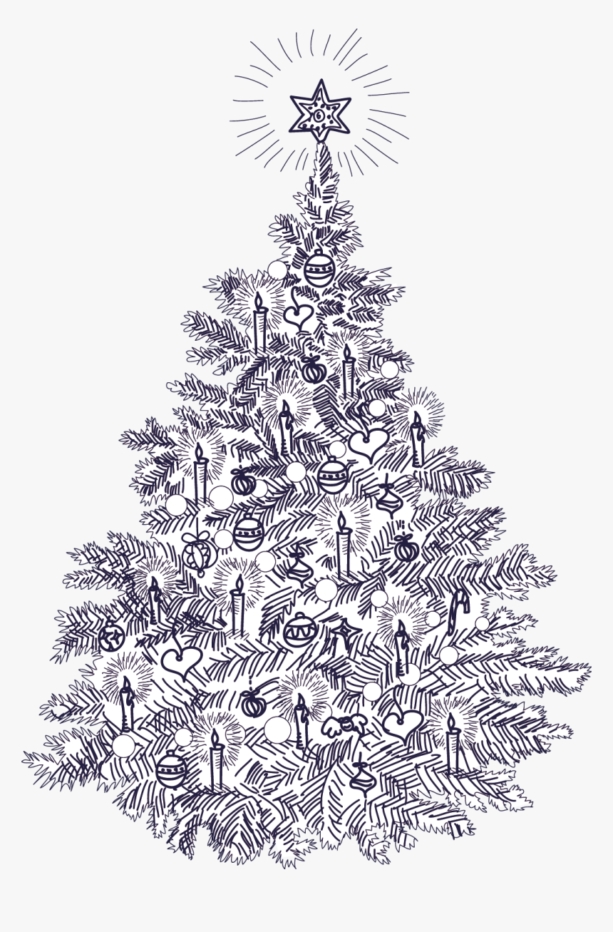 Clip Art Black And White Christmas Cards - Vintage Illustration Christmas Tree, HD Png Download, Free Download