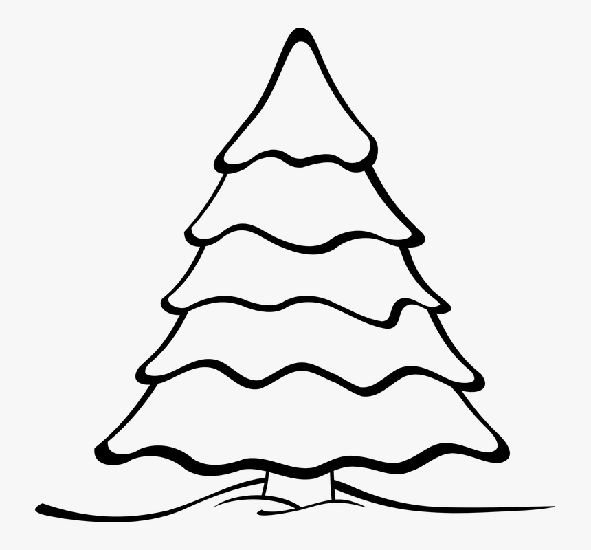 Transparent Christmas Tree Clip Art Png - Christmas Tree Black And White Clipart, Png Download, Free Download